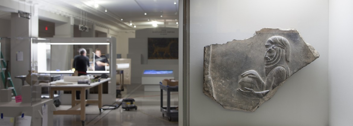 DIA art handling specialists install the Ancient Middle East gallery