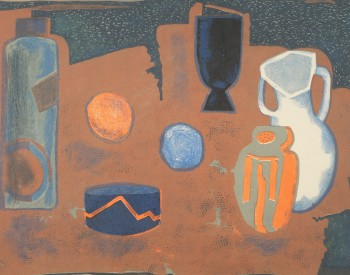 Robert Blackburn (American, 1920–2003). Still Life (aka White Jug), c. 1950. Color Lithograph; 13 ½ x 18 ¼ in. Nelson/Dunks Collection. Photograph by Greg Staley. Photo courtesy of the David C. Driskell Center at the University of Maryland, College Park.