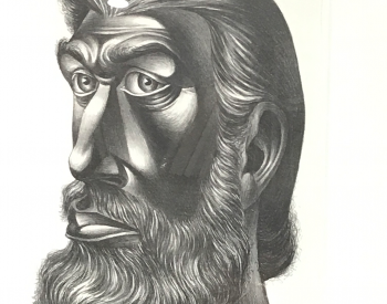 Charles White, (American, 1918–1979). John Brown, 1949. Lithograph; 25 x 21 in.(Framed). The Elizabeth Foundation for the Arts' Robert Blackburn Printmaking Workshop.