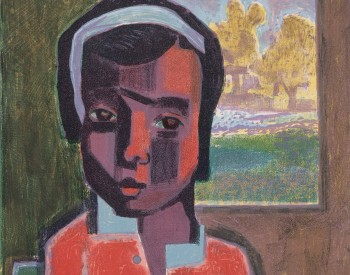 Robert Blackburn (American, 1920–2003). Girl in Red, 1950. Color Lithograph; 18 ¼ x 12 ½ in. The Petrucci Family Foundation Collection of African American Art