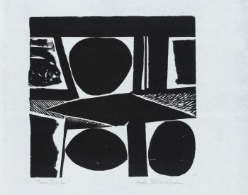 Robert Blackburn (American, 1920–2003). Three Ovals (aka The Ovals), 1960s–1970s. Woodcut; 17 1/5 x 14 1/2 in. Nelson/Dunks Collection. Photograph by Greg Staley. Photo courtesy of the David C. Driskell Center at the University of Maryland, College Park.