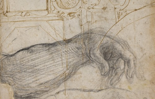 Michelangelo, Scheme for the Decoration of the Ceiling of the Sistine Chapel, c. 1508, Pen and brown ink and black chalk on cream laid paper. Detroit Institute of Arts.