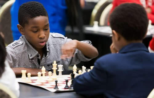 Playing chess with the Detroit Chess Club at the DIA