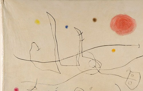 The Magnet's Flow, Cover, 1964, drypoint printed in colored inks on parchment, stretched over thick paperboard; Joan Miró, Spain. Gift of Arthur Schwartz