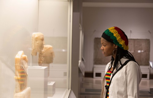 DIA visitor viewing ancient sculptures