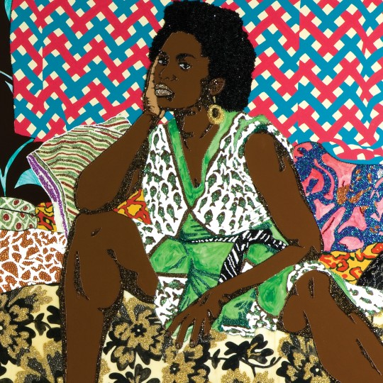 """""""Baby I Am Ready Now,"""" Mickalene Thomas, 2007, Diptych, acrylic, rhinestone and enamel on wooden panel. Rubell Family Collection, Miami"""
