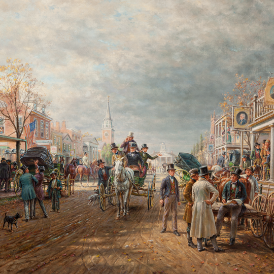 Election Day 1844, 1913, Edward Lamson Henry, American; Oil on canvas. Manoogian Collection