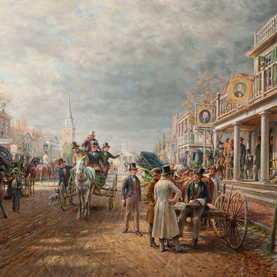"""""""Election Day 1844,"""" 1913. Edward Lamson Henry, American, 1841-1919. Oil on canvas. Manoogian collection"""